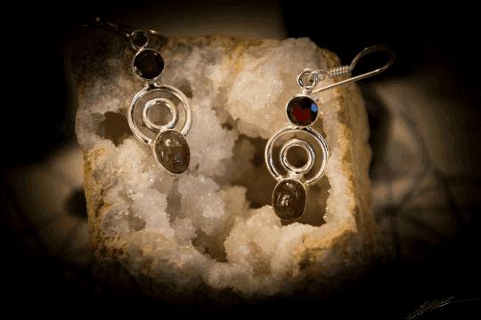 """Pink Tourmaline, Garnet - 925 Sterling Silver Earrings 1 1/2"""" 2"""