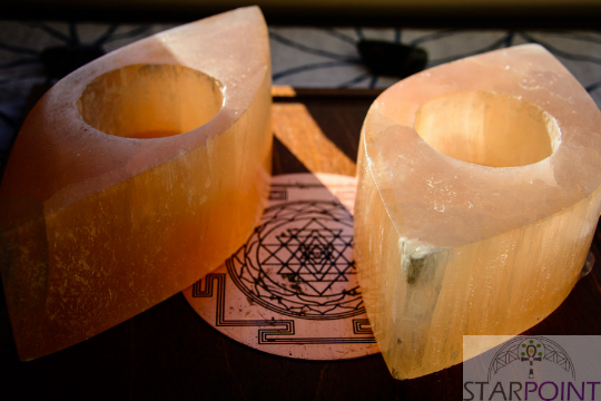 Peach Selenite Tea Light Candles (Pair) 5
