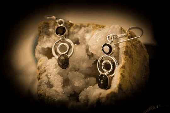 """Pink Tourmaline, Garnet - 925 Sterling Silver Earrings 1 1/2"""" 3"""