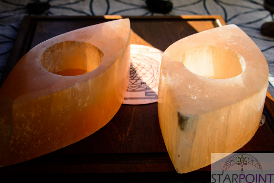Peach Selenite Tea Light Candles (Pair) 8