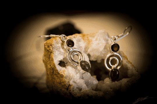 """Pink Tourmaline, Garnet - 925 Sterling Silver Earrings 1 1/2"""" 4"""