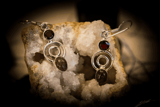 """Pink Tourmaline, Garnet - 925 Sterling Silver Earrings 1 1/2"""" 1"""