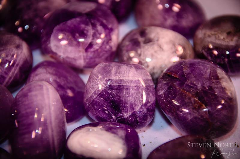 Chevron Amethyst Tumbled Stones 1